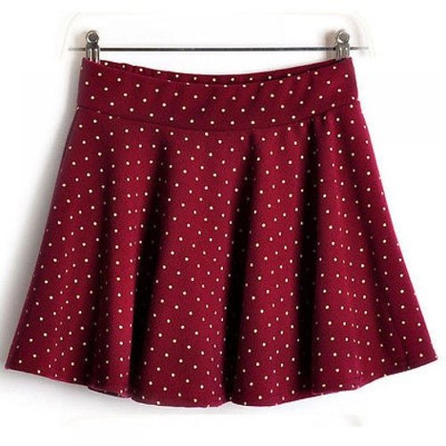 Winter Polka Dots Pleated Short Mini Skirt by Superfs in If I Stay
