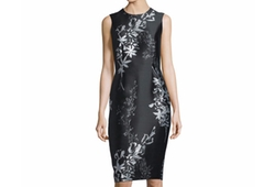 Sleeveless Jewel-Neck Floral Sheath Dress by Carmen Marc Valvo  in Suits