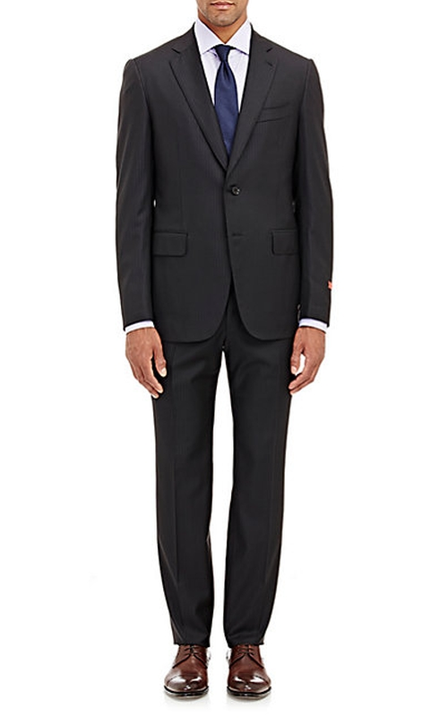 Striped Gregory Two-Button Suit by Isaia in Billions - Season 1 Episode 6