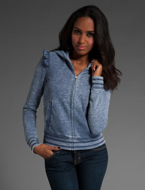 Ruffle Fleece Long Sleeve Zip Hoodie Jacket by Juicy Couture in Drive