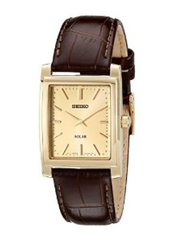 Men's Brown Leather Solar-Power Dress Watch by Seiko in Hail, Caesar!