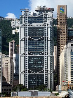 Hong Kong, China by HSBC Building in Blackhat