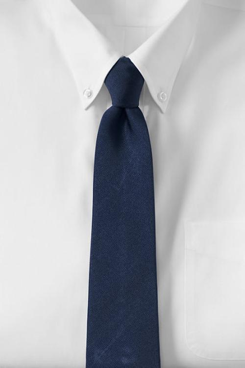 Men's Solid Silk Repp Tie by Lands' End in Nightcrawler