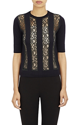 Knit & Lace Striped Sweater by Carven in Arrow