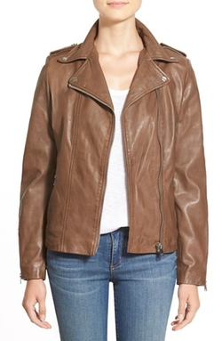 Lambskin Leather Moto Jacket by La Marque in Master of None