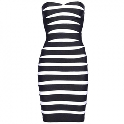 Chest Wrap Strapless Zebra Stripe Bandage Dress by Herve Leger in Ballers