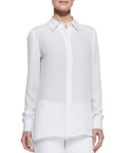 Georgette Button-Down Blouse, White by Vince in Sabotage