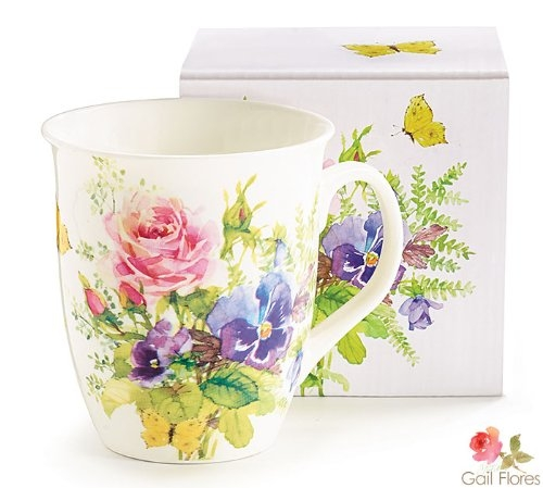 Abundant Flowers White Porcelain Mug by Porcelain Flowers in The Hangover