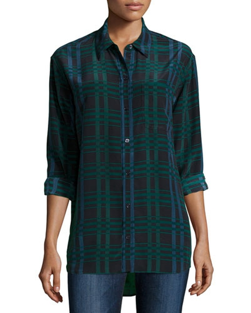 Daddy Long-Sleeve Plaid Blouse by Equipment in Brooklyn Nine-Nine - Season 3 Episode 10