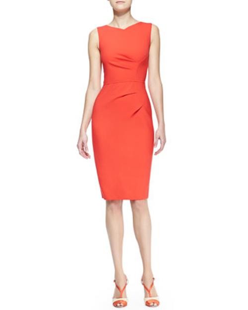 Sleeveless Side-Panel Ruched Sheath Dress by Carolina Herrera in About Last Night