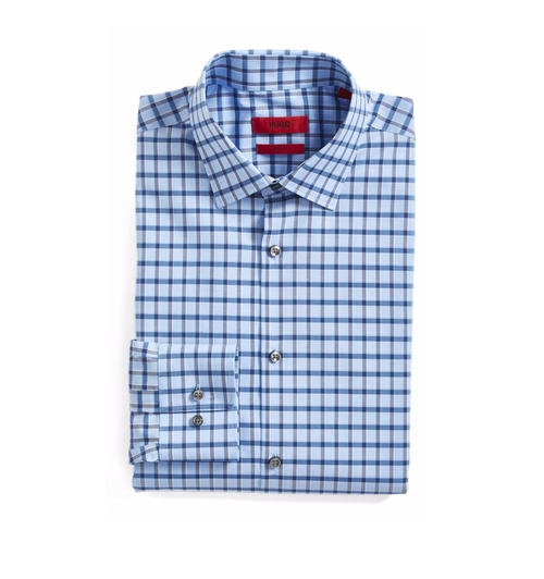 Sharp Fit Check Dress Shirt by Hugo Boss in The Boss