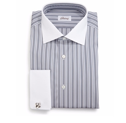 Contrast-Collar Multi-Stripe French-Cuff Dress Shirt by Brioni in Ballers
