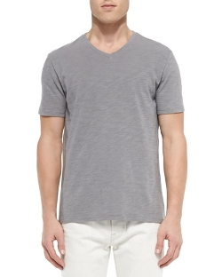 Slub V-Neck Tee																				Slub V-Neck Tee, Light Gray by Vince in Fight Club