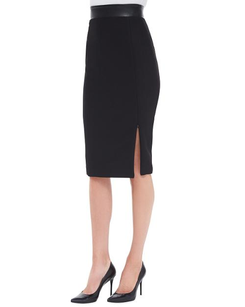 Willow Leather-Waist Pencil Skirt by Nha Khanh in Mortdecai