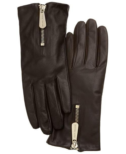 Leather With Zipper Gloves by Michael Kors in New Year's Eve