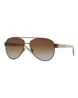 Men's Check-Temple Metal Aviator Sunglasses by Burberry in Empire