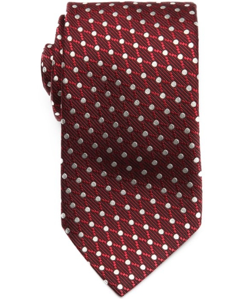 Bordeaux Silk Dot Print Tie by Ermenegildo Zegna in Suits - Season 5 Episode 1
