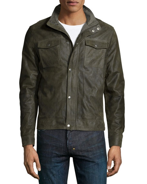Utility-Pocket Leather Bomber Jacket by John Varvatos Star USA in Blow