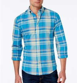 Kirkwyn Madras Plaid Long-Sleeve Shirt by Tommy Hilfiger in Supergirl