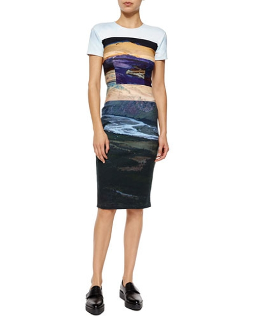 Short-Sleeve Landscape-Print Body-Conscious Dress by McQ Alexander McQueen in Brooklyn Nine-Nine - Season 3 Episode 5
