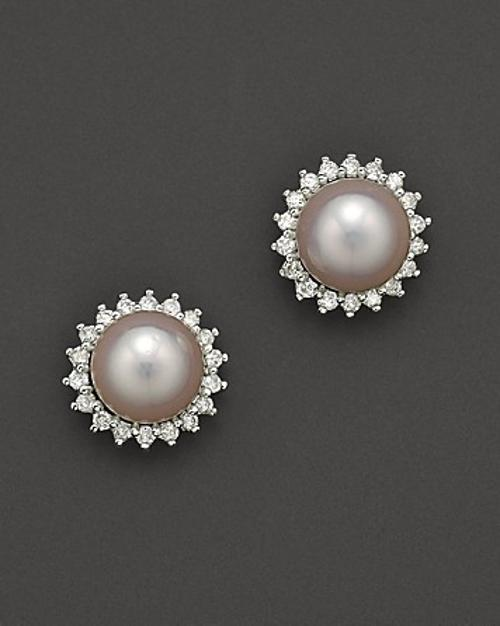 Cultured Pearl Earrings with Diamonds by Bloomingdale's in Yves Saint Laurent