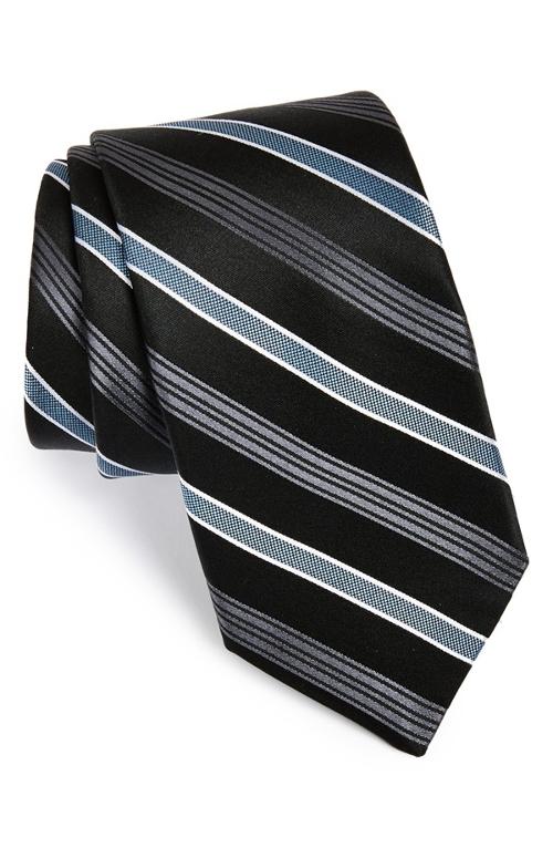 'Mt. Supery Stripe' Woven Silk Tie by Michael Kors in Trainwreck
