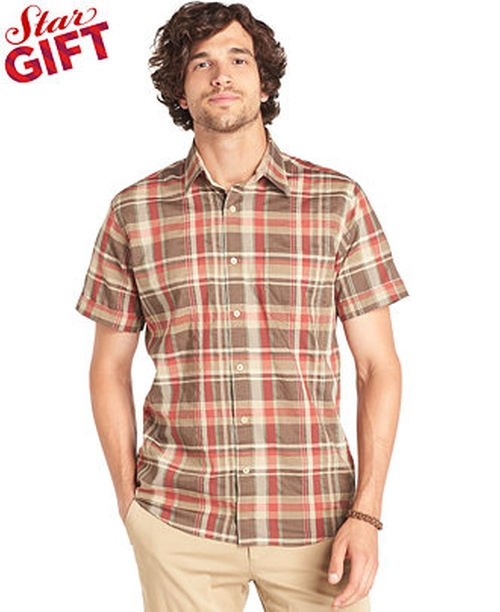Brushed Pine Madras Short Sleeve Shirt by G.H. Bass in Me and Earl and the Dying Girl