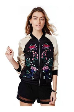 Embroidered Floral Bomber Jacket by Yoins in Black-ish