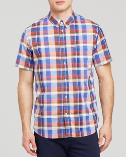 Short Sleeve Plaid Button Down Shirt by Paul Smith in Ride Along 2