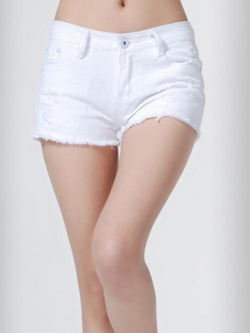 White Mid Waist and Ripped Detail Denim Short by Choies in Neighbors