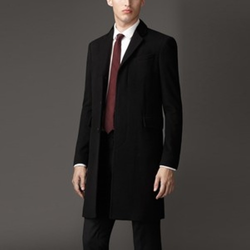Velvet Detail Wool Cashmere Coat by Burberry in Suits - Season 5 Episode 16