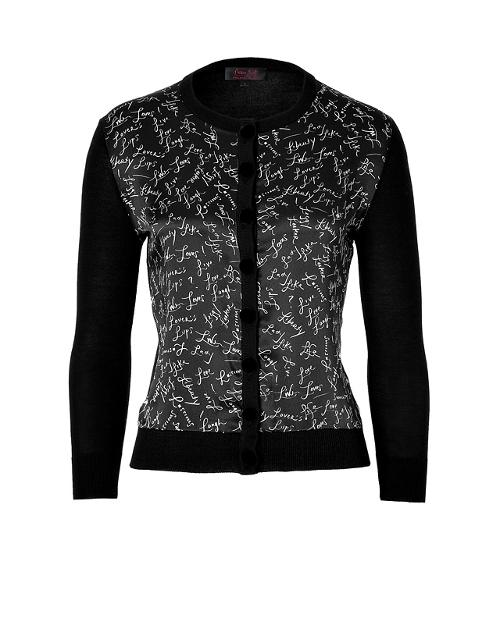 Black Signature Printed Combo Cardigan by L'Wren Scott in The Hundred-Foot Journey
