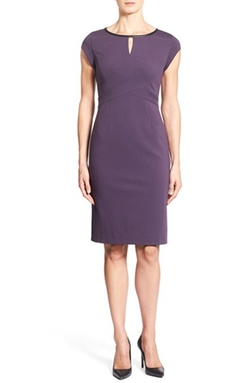 Leather Trim Cap Sleeve Ponte Sheath Dress by Classiques Entier in How To Get Away With Murder