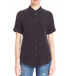 Slim Signature Short Sleeve Silk Shirt by Equipment in The Blacklist