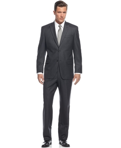 Charcoal Flannel Solid Peak-lapel Suit by Michael Kors in Blackhat