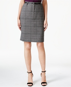 Woven-Plaid Pencil Skirt by Calvin Klein in The Good Wife