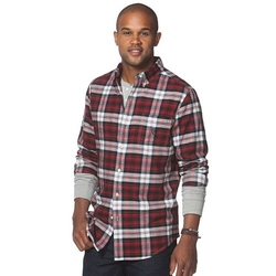 Classic-Fit Tartan Plaid Oxford Button-Down Shirt by Chaps in Black-ish