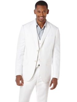 Linen Cotton Herringbone Suit Jacket by Perry Ellis in Paper Towns