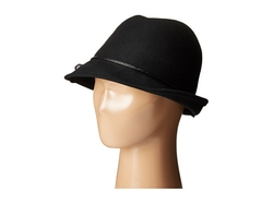 Wool Felt Fedora With Faux Leather Trim And Bow by Scala in Once Upon a Time