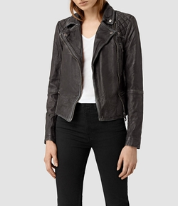 Cargo Leather Biker Jacket by All Saints in Supergirl
