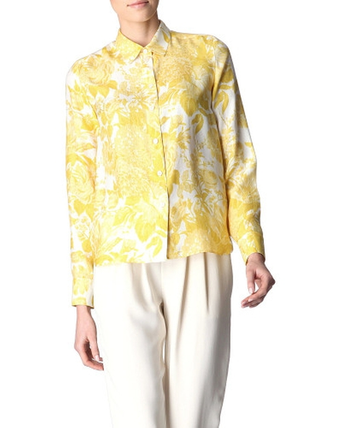Yellow Floral Printed Silk-Satin Shirt by Stella McCartney in The Boss