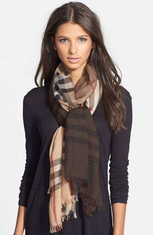 Ombré Check Wool & Silk Scarf by Burberry in The Age of Adaline