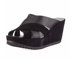 Frine Crisscross Wedge Slide Sandals by Pedro Garcia in The Bold Type