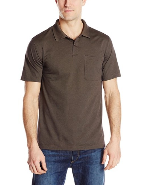 Men's Short Sleeve Feeder Stripe Polo With Chest Pocket by Van Heusen in (500) Days of Summer