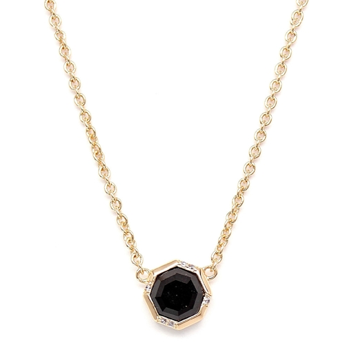 Black Onyx Octagon Drop Necklace by Rachael Ryen in Pretty Little Liars - Season 6 Episode 11