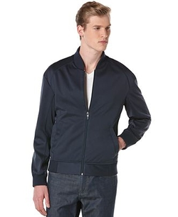 Full-Zip Neoprene Bomber Jacket by Perry Ellis in Quantico