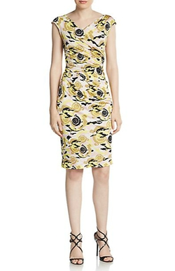 Baroque Print Ruched Sheath Dress by Versace in The Women