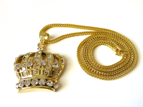 Crown Pendant Franco Chain Necklace by Bitter Sweet Store in Chi-Raq