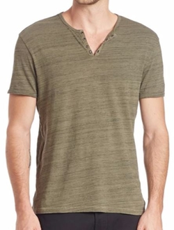 Split V-Neck Henley Shirt by Kenneth Cole Reaction in Quantico