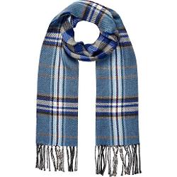 Blue Plaid Reversible Scarf by River Island in Mortdecai